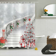 Christmas Tree Gift Candy Cane Stairs Polyester Fabric Shower Curtain Set 72x72