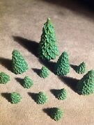 Set Of 12 Christmas Pine Candles Village Decorations