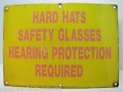 Old Porcelain Hard Hats Safety Glasses Hearing Protection Required Safety Sign