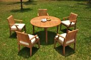 6pc Grade-a Teak Dining Set 52 Round Table 5 Lagos Arm Chair Outdoor Patio