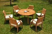 7pc Grade-a Teak Dining Set 52 Round Table 6 Lagos Arm Chair Outdoor Patio
