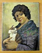 Orig Vintage Gypsy And Cat Oil Painting On Canvas Signed By R. Vigni 11 X 14