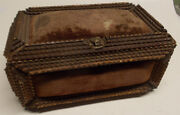 Antique Tramp Art Box Chest 1900and039s Wooden Primitive Art Sewing