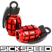2 Red Anodized Grenade Valve Stem Cap Kit/set For Motorcycle Tires M7