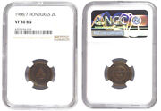 Honduras Bronze 2 Centavos 1908/7 Ngc Vf 30 Bn Finest And Only Known Example