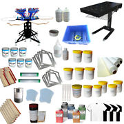 6 Color 6 Station Screen Printing Kit Silk Screen Press Hobby Ink And Flash Dryer