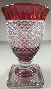 Heavy Antique Goblet Style Ruby Stain Glass Vase W Diamond Pattern And Square Base
