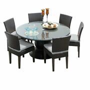 Belle 60 Outdoor Patio Dining Table With 6 Armless Chairs In Grey