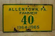 1964 1965 Allentown Pa Farmer License Plate Embossed Metal Farm Auto Truck Sign