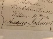 Andrew Johnson Autograph - Signs A Supporting Petition