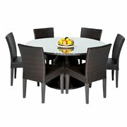 Belle 60 Outdoor Patio Dining Table W/ 6 Armless Chairs