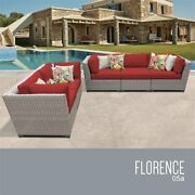 Tk Classics Florence 5-piece Wicker Patio Sofa Set In Red