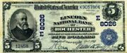 1902 5 National Currency Rochester Ny Note Reproduction / Copybuy 4 Get 1 Free