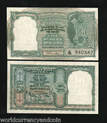 India 5 Rupees P34 1949 Rama Rausign Antelope Tiger Unc Currency Rare Banknote
