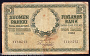Finland 5 Gold Markkaa P9 1909 Pre Euro Boat Currency Money Finnish Bank Note