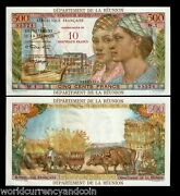 Reunion Islands France 10 Nf On 500 Francs P54 1967 Boat Ox Unc Money Bank Note