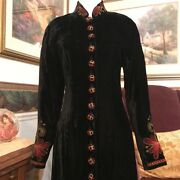 Double D Ranch Black Rayon Embroidered Duster Dress With Covered Buttons Size Xs