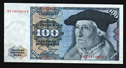 Germany 100 Marks P34 D 1980 Munster Eagle Euro Au Currency Money Bill Bank Note