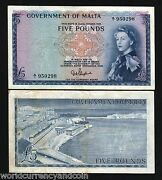 Malta 5 Pounds P27 1961 Queen Au- Euro Rare Currency Money Bill Gb Uk Bank Note
