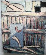 Mary Ethel Marks 1890-1955 Abstract Art Paper Pulp And Fiber Basket Painting