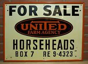 Old United Farm Agency Sign For Sale Horseheads Box 7 Re 9-4323 Feed Seed Ad