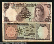 Cayman 25 Dollars 1971 P4 Queen 1st Issue Turtle Map Rare Money Bill Bank Note