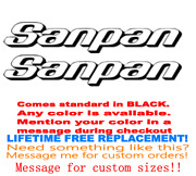 Pair Of 5.25 X 23 Sanpan Boat Hull Decals. Marine Grade. Your Color Choice 67