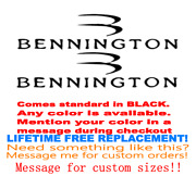 Pair Of 10 X 25.5 Bennington Boat Hull Decals. Marine Grade. Your Color Choice