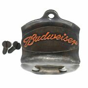 Budweiser Wall Mounted Bottle Opener, Die Cast With Painted Antique Finish
