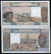 West African States Togo 5000 Francs P808t 1992 Boat Unc Money Bill Bank Note