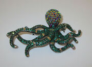 Octopus Pin Crystal Accents Green Tentacles Ab Head Silver Tone New Brooch