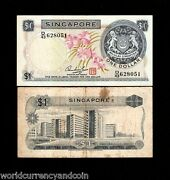 Singapore 1 Dollar P1 1972 First Note Lion Orchid Scarce Bill Money Bank Note