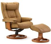 Fjords Regent Small Recliner Chair And Ottoman Sl224 Hassel Soft Line Leather