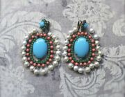 Vintage Kenneth Jay Lane Earrings Turquoise Pearls 1960s Signed Costume Jewelry