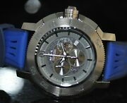 Men's Rare Sea Spider Swiss Chrono Grey Dial Blue Leather Watch 5534