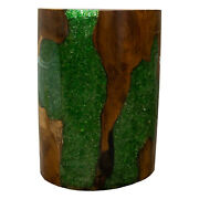 Round Cylinder End Side Table Night Stand Teak Wood Lucite Green Rs11brgrn-06