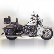 Dandd Fat Cat Chrome 21 Full Exhaust Wrapped Baffle Harley Heritage Softail 84-17