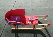 Davos Pilz Wood Baby/toddler Pull Sled With Cast Iron Runners Lands' End Insert