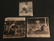 1960's  Mickey Mantle 3 Diff. Paper Captions From Original Press Photos
