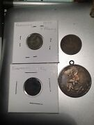 Lot 4 Very Old German Coins 1875-1924 Silver Drei Mark, Trench Art Shamrock