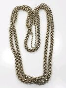 Unique Antique Victorian Heavy Long Sterling Silver Gold Wash Detailed Necklace