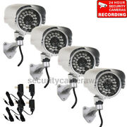 4 Security Camera Outdoor 700tvl Ir Day Night Wide Angle With Sony Effio Ccd B4n