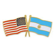 Pinmart's Usa And Argentina Crossed Friendship Flag Enamel Lapel Pin