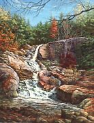 Waterfall Autumn Leaves Woods Birch Landscape New England Original Oil Painting