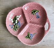 Vintage Ceramic Schramberg Majolica Lilly Of Valley Pink Divided Dish