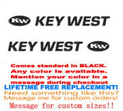 Pair Of 3x43 Key West Boat Hull Decals. Marine Grade. Your Color Choice 146