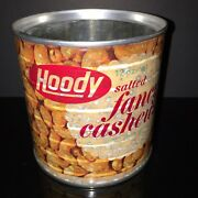 Vtg 1970s Hoody Fancy Cashews Tin Steel Cut Can W/ Cool Paper Label Graphics