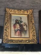 Orientalist Painting Of Turkish Ottoman Janissary Soldier And Odalisque On Horse