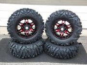 Can Am Outlander 1000 27 Quadking 14 Hd7 Red Atv Tire And Wheel Kit Can1ca