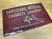 Old Employers Mutual Casualty Co Ad Sign Des Moines Iowa Prismatic Bastian Bros